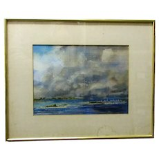 Framed Watercolour 'Squall over Great Sound. Bermuda' Vintage c1970