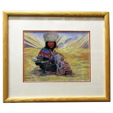 Framed Andean Indian Watercolour by Charles Kibble Vintage