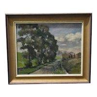 Framed Landscape Oil Painting 'Old Elms Near Ashford. Derbyshire' Vintage c1950