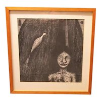 'Night Angel' Artist Proof Framed Lithographic Print by Andrew Stahl Vintage c1986