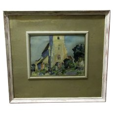 Framed Oil on Board Cotswold Church by Oliver Hill Vintage c1930