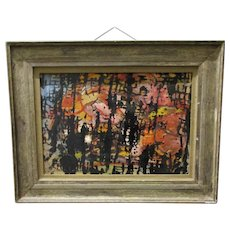 Abstract Mixed Media Painting by Bernard Carolan Vintage c1960