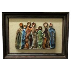 Framed Art Pottery Group of Figures America Vintage c1970