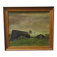 Oil on Canvas 'Holy Island' by Dennis Lascelles Vintage c1930