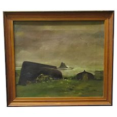Oil on Canvas 'Holy Island' by Dennis Lascelles Vintage c1930