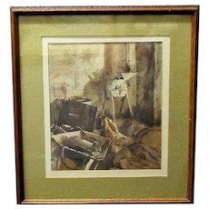 Framed Watercolour 'Interior Workshop' by John Tindle Vintage c1950