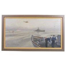 Oil on Board Painting Falklands War by David Cobb Vintage