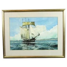 Framed Watercolour of Sailing Ship by DR Smith Vintage c1979