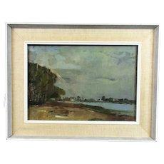 Oil on Canvas 'Dalquay' by Robert Joseph Burn RSMA Vintage c1965