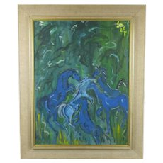 Larger Indian Oil painting of Horses Signed Lolly Vintage c1970