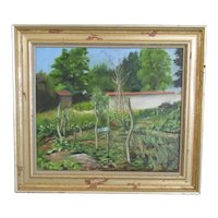 Oil on Board Painting 'Walled Garden' by Keith Ross Contemporary c2001