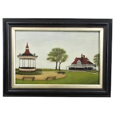 Naïve Oil on Canvas Painting of an English Park Antique c1904
