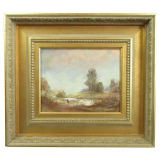 Framed Oil on Board Landscape Painting by J Langley RA Vintage c1983