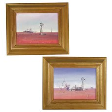 Pair Small Oil on Board Landscapes Australian Outback Vintage c1980