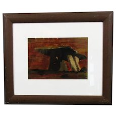 Framed Oil on Card Painting Megalith in the Burren, Eire Vintage c1990