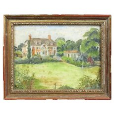 Decorative Pastel of an English Country House Vintage c1950