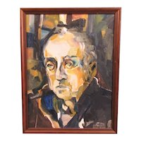 Oil on Board Impasto Portrait Painting Vintage
