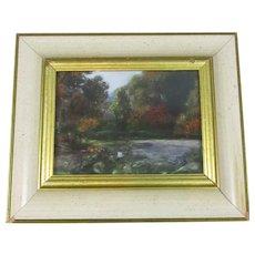 Framed Pastel on Board Landscape Picture Vintage c1980
