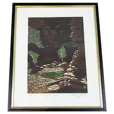 Block Print 'Windjana Gorge' Vintage c1993