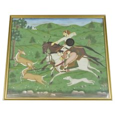 Gouache on Paper Indian Painting of Deer Hunt Rajasthan Vintage c1930