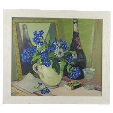 Oil on Board Still Life of Jug of Flowers Contemporary