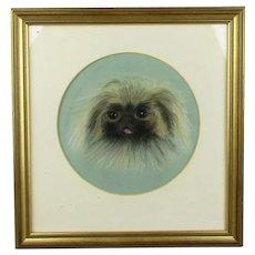 Framed pastel Drawing of a Peke Dog Vintage c1990