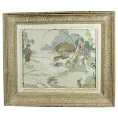 Framed Printed Cotton Textile Fragment from Sanderson Vintage c1930