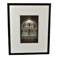 Etching & Aquatint Print 'The Court of the Myrtles' by G Greenfield Vintage c1976