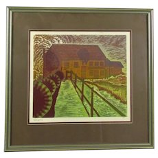 Framed Linocut Print 'Throop Mill' by H Gibbons Vintage c1990