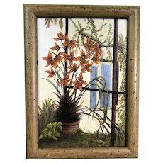 Oil On Board Garden Corner Potted Flowers By Jean Ransom Vintage c1960