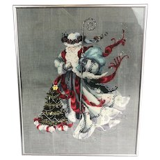 Embroidered Beaded Picture Of Santa Claus And Christmas Tree Vintage c1970