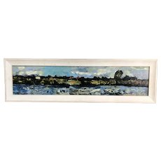 Oil On Board View Of Wargrave Church from Henley Sailing By Robert Conway-Jones Vintage c1950