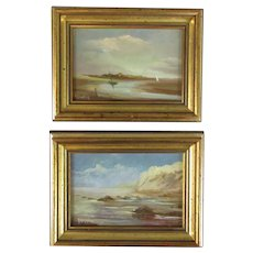 Pair Framed Miniature Oil on Board Paintings by J Langley Vintage