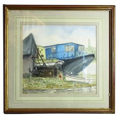 Framed Watercolour & Ink 'Chiswick Draw Dock' by P Hodgson Vintage c1992