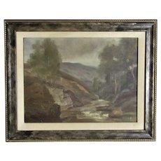 Framed Oil on Board Painting Scottish Landscape Antique c1908