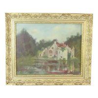 Oil on Board Painting 'Scotney Castle' by Jene Langley Vintage c1988