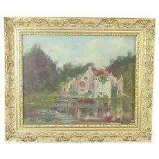 Oil on Board Painting 'Scotney Castle' by Jene Langley Vintage c1988