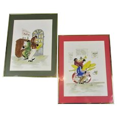 Pair of Watercolours 'New Orleans Jazz Musicians' Vintage c1960