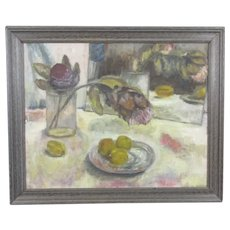 Oil on Board Still Life Painting Joan Mead Vintage
