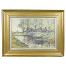 Gilt Framed Watercolour Painting of Riverside by ER Fox Antique c1909