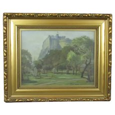 Framed Oil on Canvas Painting of Edinburgh Castle L Oliver Vintage c1926