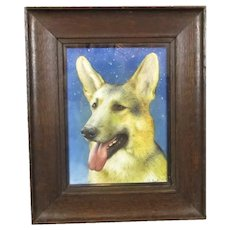Watercolour Painting of an Alsatian by S Ball Vintage c1925
