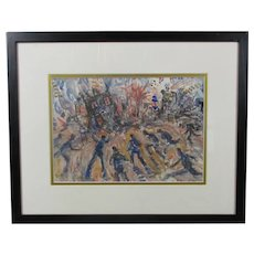 Mixed Media Painting 'Emergency' by Donald Hughes Vintage c1950