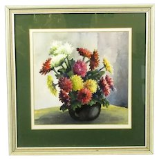 Framed Watercolour Still Life of Flowers by R Strain Vintage c1970
