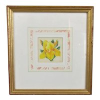 Small Watercolour Painting of an Iris by Pearl Titterington Vintage c1997