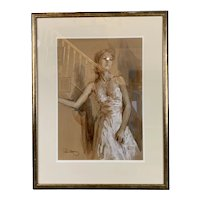 Wooden Frame Pastel Painting Title Natasha By Paul Hedley Vintage c1980