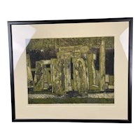 Wooden Black Frame Etching On Canvas Painting Title Stonehenge By Valerie Thorton Vintage c1980
