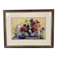 Wooden Frame Gouache Watercolor Painting Title Anemones By D. V. Hamilton Vintage c1970