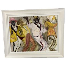Wooden White Frame Oil On Canvas Painting Title Minstrel Festival Cape Town Vintage c1980