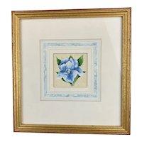 Watercolour On Canvas Blue Iris by Pearl Titterington Vintage c1970